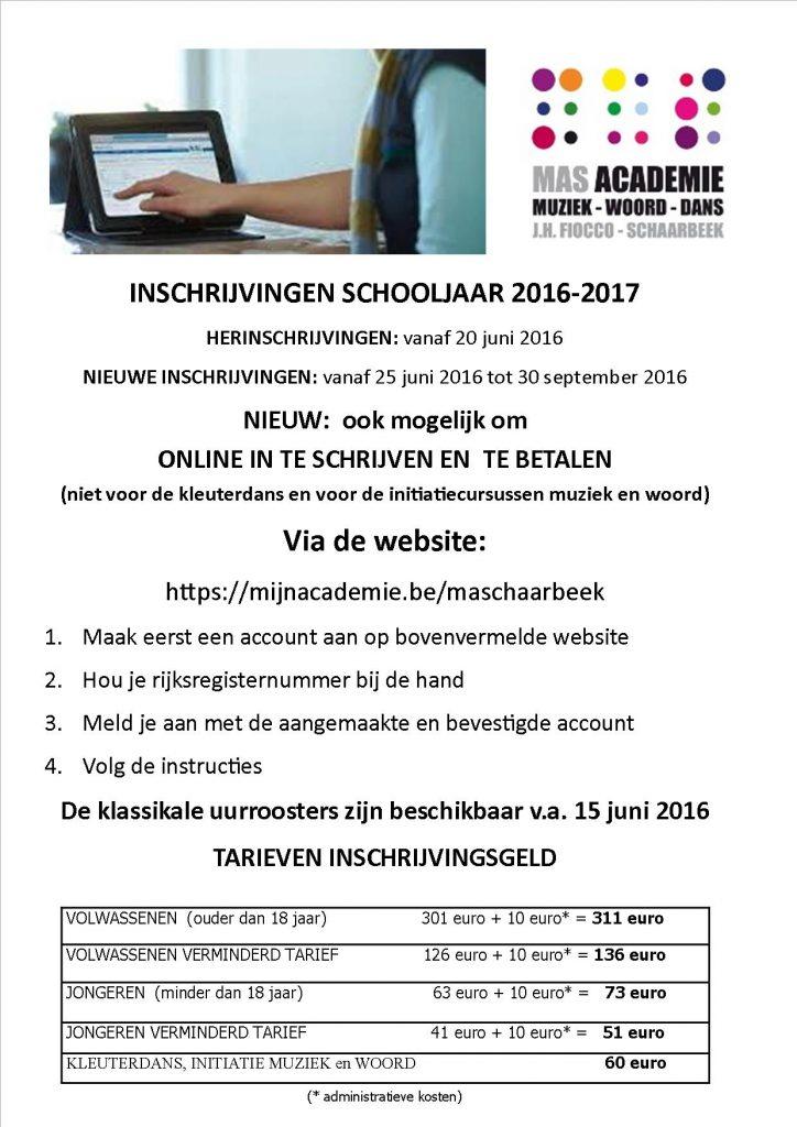 Online Inschrijvingen SC 2016-2017